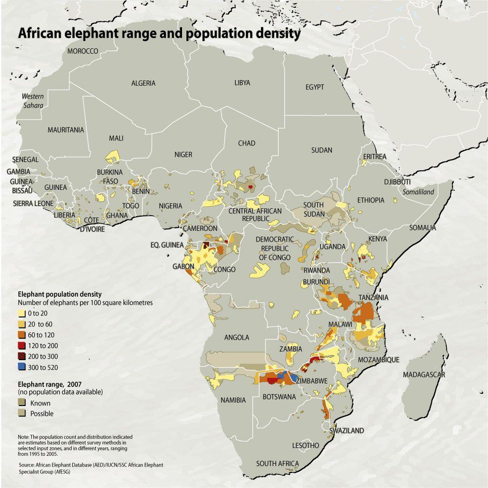 Verbreitung Afrikanischer Elefanten